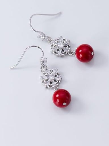 925 Sterling Silver Imitation Pearl Flower Artisan Hook Earring