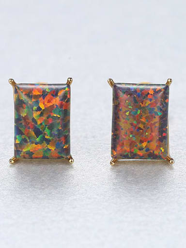 Color 18F03 925 Sterling Silver Opal Blue Square Minimalist Stud Earring