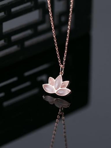 925 Sterling Silver Cats Eye Flower Minimalist Necklace