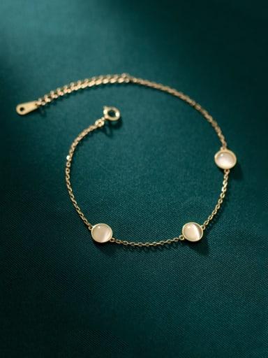925 Sterling Silver Cats Eye Geometric Minimalist Link Bracelet