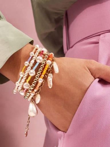Freshwater Pearl Multi Color Irregular Bohemia Stretch Bracelet