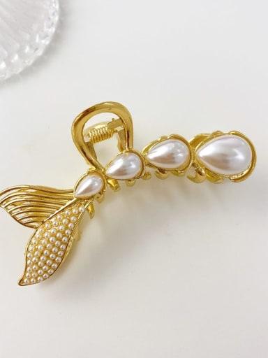 Water drop pearl fishtail 8.5cm Alloy Imitation Pearl Minimalist Fish  Tail Jaw Hair Claw