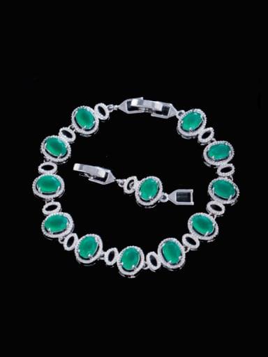 Brass Cubic Zirconia Multi Color Oval Luxury Bracelet
