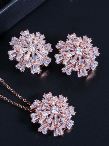 Rose gold chain Brass Cubic Zirconia Luxury Flower Earring and Necklace Set