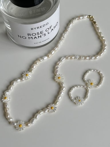 925 Sterling Silver Freshwater Pearl Flower Minimalist Beaded Necklace