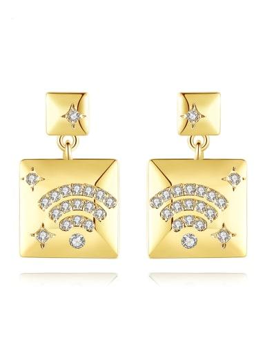 Brass Cubic Zirconia Square Minimalist Chandelier Earring