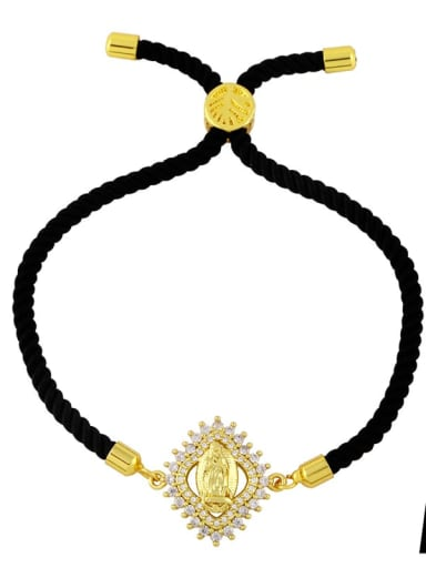 Black rope a Brass Cubic Zirconia Religious Vintage Woven Bracelet