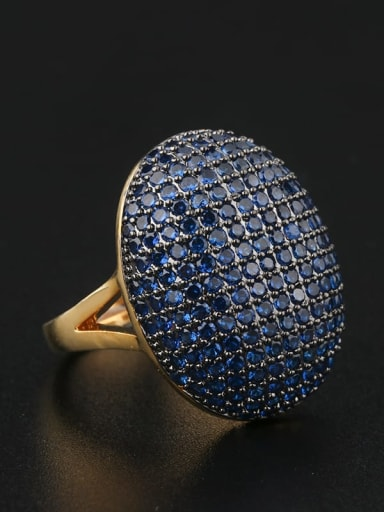 Brass Cubic Zirconia Geometric Luxury Statement Ring