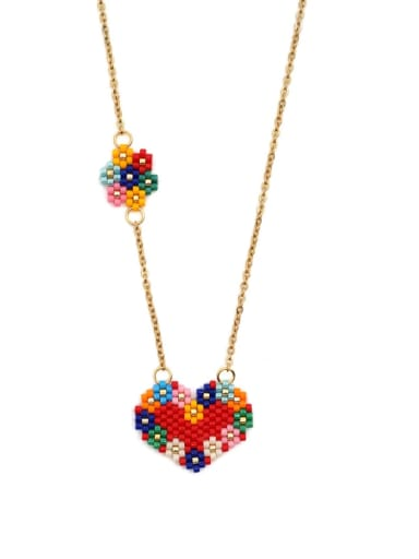 Stainless steel Multi Color Miyuki beads Heart Bohemia Pure handmade Necklace
