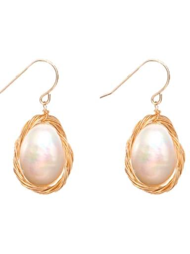 Brass Freshwater Pearl Oval Minimalist Hook Earring
