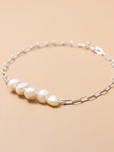 925 Sterling Silver Freshwater Pearl Round Minimalist Bracelet