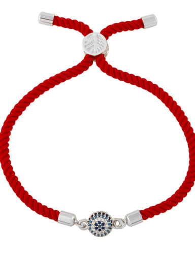 Red rope ball silver Brass Cubic Zirconia Heart Vintage Woven Wire Bracelet