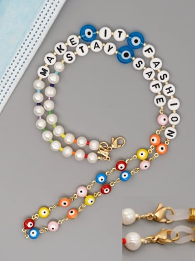 ZZ N200088B Stainless steel Imitation Pearl Multi Color Letter Bohemia Hand-woven Necklace