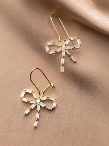 925 Sterling Silver Cubic Zirconia Butterfly Vintage Hook Earring