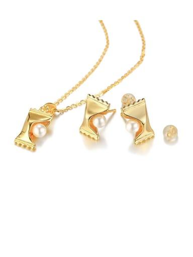 Copper Imitation Pearl White Necklace