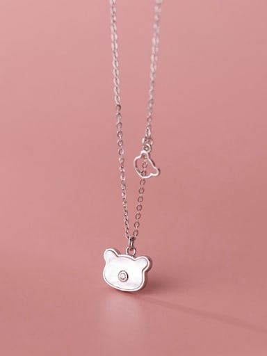 Silver 925 Sterling Silver Shell Bear Cute Necklace