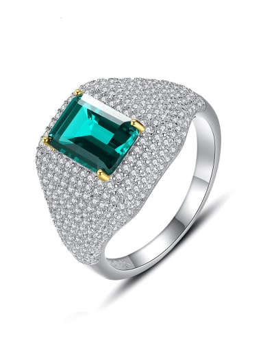 925 Sterling Silver Cubic Zirconia Geometric Luxury Cocktail Ring