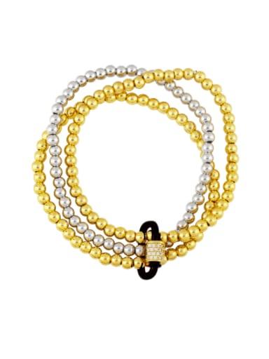 Brass Bead Enamel Geometric Vintage Beaded Bracelet
