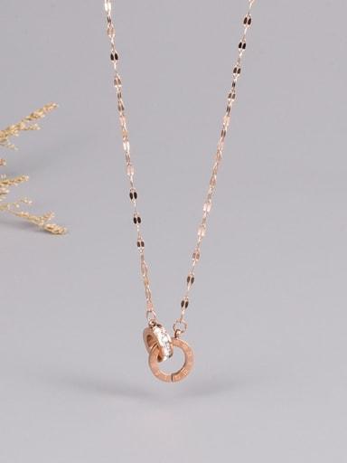Titanium Steel Rhinestone Number Minimalist Necklace