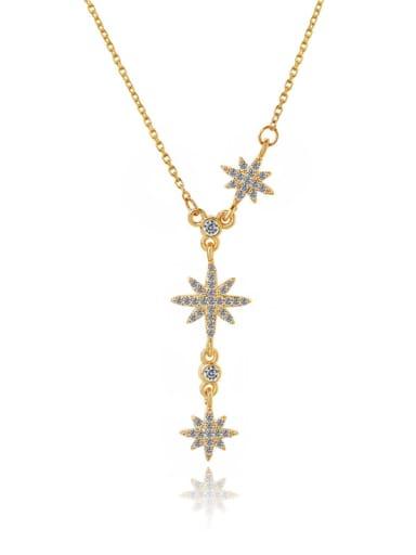 Brass Cubic Zirconia Star Dainty Lariat Necklace