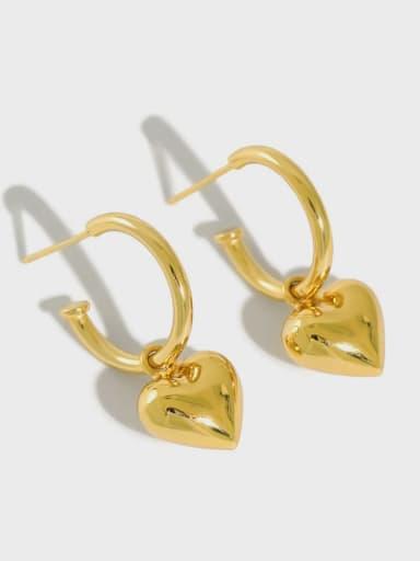 925 Sterling Silver Heart Vintage Huggie Earring