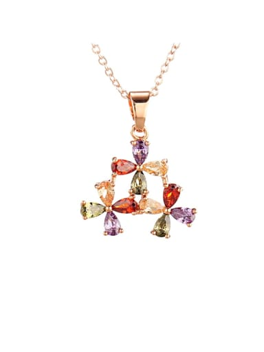 Brass Cubic Zirconia Multi Color Flower Dainty Necklace