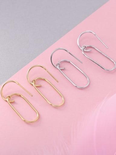 925 Sterling Silver Geometric Minimalist Hook Earring