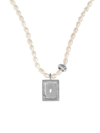 silvery 925 Sterling Silver Freshwater Pearl Geometric Vintage Necklace