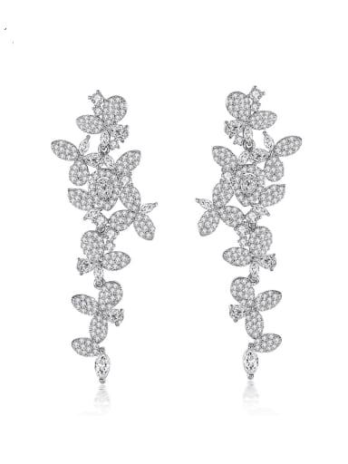 Brass Cubic Zirconia Flower Trend Drop Earring