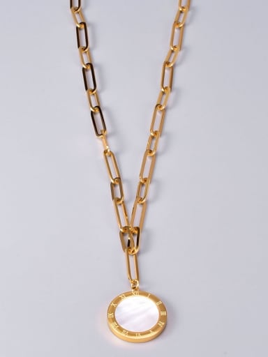 Titanium Steel Shell Geometric Vintage Pendant Necklace