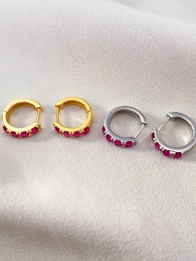 925 Sterling Silver Rhinestone Geometric Vintage Huggie Earring