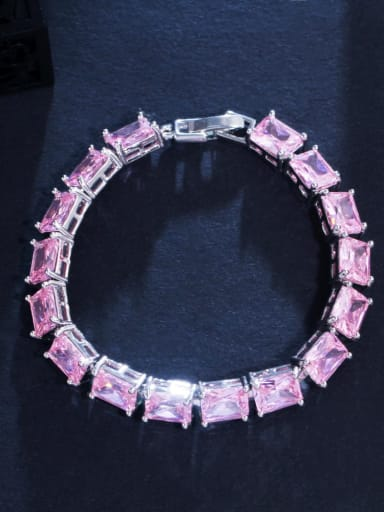 Pink Brass Cubic Zirconia Geometric Luxury Bracelet