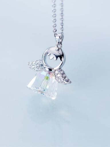 925 Sterling Silver Crystal Cute Angel Pendant Necklace
