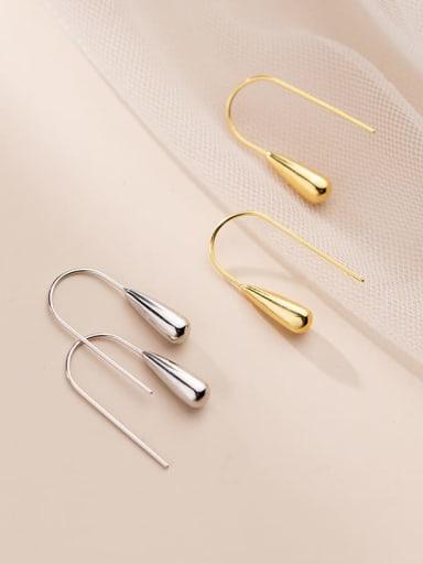 925 Sterling Silver Water Drop Minimalist Hook Earring