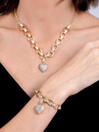 Gold suit (bracelet necklace) Brass Cubic Zirconia Luxury Heart Braclete and Necklace Set