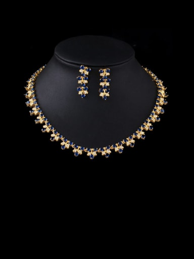 blue Brass Cubic Zirconia Luxury Leaf  Earring and Necklace Set