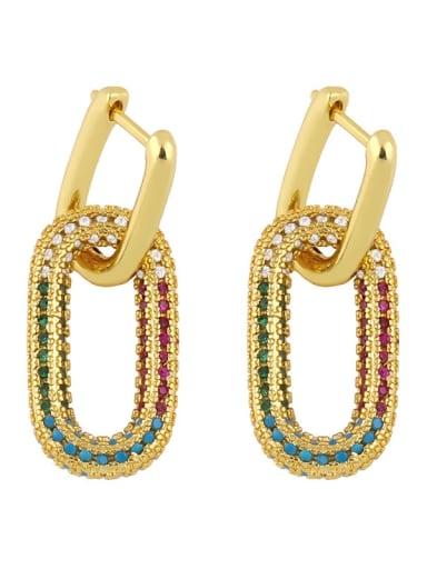 Eru13 color Brass Cubic Zirconia Geometric Vintage Cluster Earring