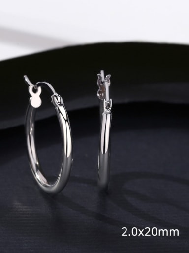 18 17D11 925 Sterling Silver Smooth Round Minimalist Hoop Earring