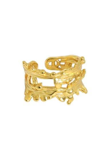 Gold [14 adjustable] 925 Sterling Silver Irregular Vintage Band Ring