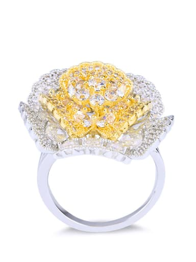 steel Brass Cubic Zirconia Flower Luxury Band Ring