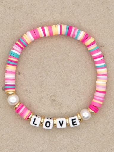 QT B200144B Stainless steel Freshwater Pearl Multi Color Polymer Clay Letter Bohemia Stretch Bracelet