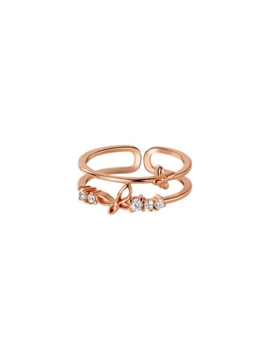 925 Sterling Silver Rhinestone Butterfly Minimalist Stackable Ring