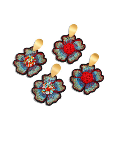 Alloy Resin Flower Ethnic Drop Earring