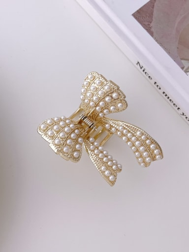 Bow little Pearl 6cm Alloy Imitation Pearl Trend Butterfly  Jaw Hair Claw