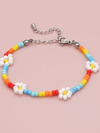 QT B210071A Stainless steel Bohemia Flower Bead Multi Color Bracelet and Necklace Set