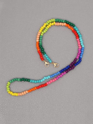 GZ N200023B Stainless steel Bead Multi Color Evil Eye Bohemia Hand-woven Necklace