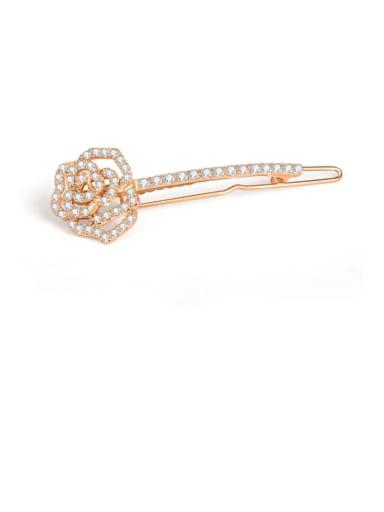 Copper Rhinestone  Minimalist FlowerHair Pin