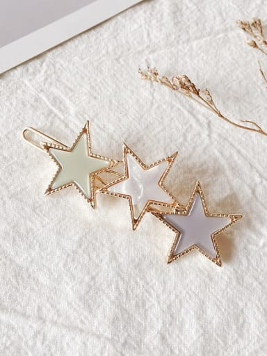 Retro Green Alloy Cellulose Acetate Minimalist Star  Hair Pin