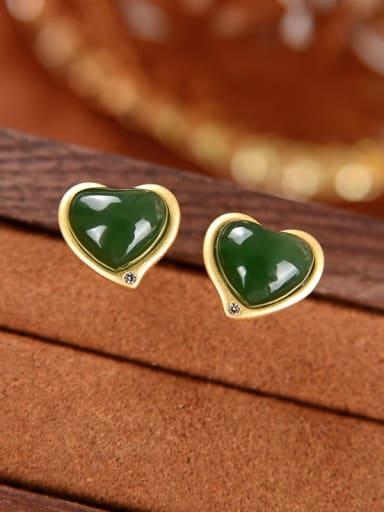 925 Sterling Silver Jade Heart Vintage Stud Earring