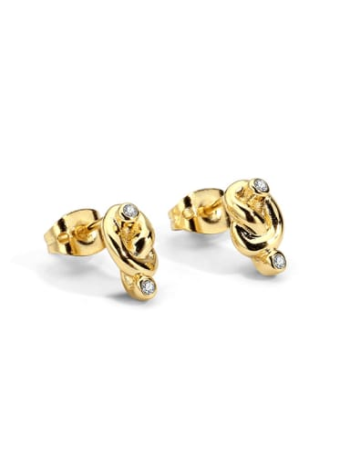 Brass Rhinestone  knot Vintage Stud Earring
